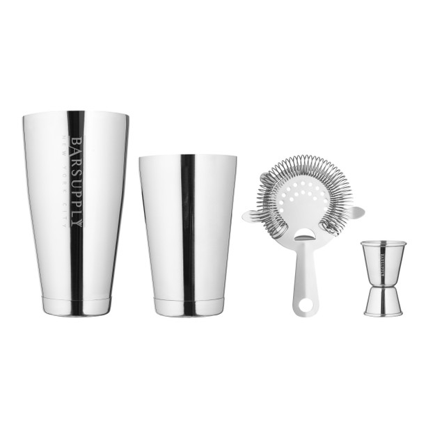 BARSUPPLY Professional 4-Piece Boston Cocktail Shaker Set