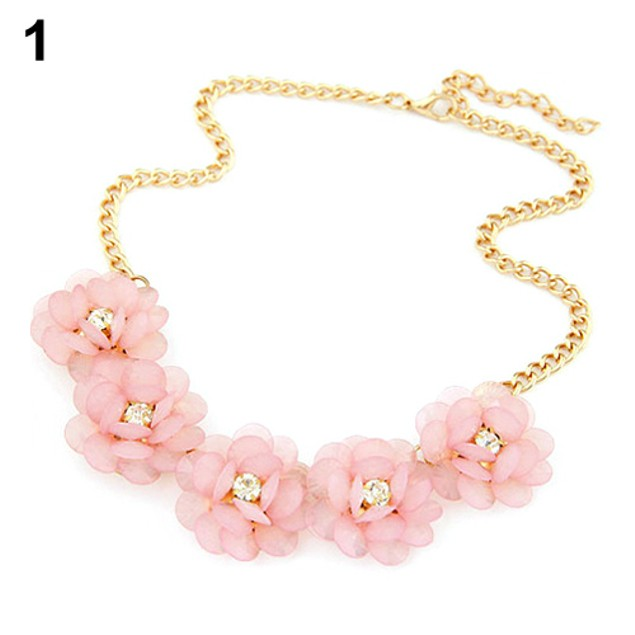 Women Fresh Style 5 Big Flowers Candy Color Necklace