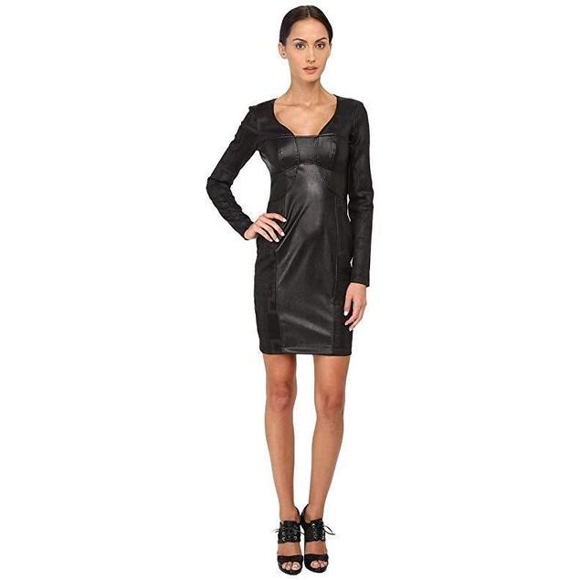 Versace Jeans Women's Long Sleeve V-Neck Cocktail Dress Nero 42 (US 6)