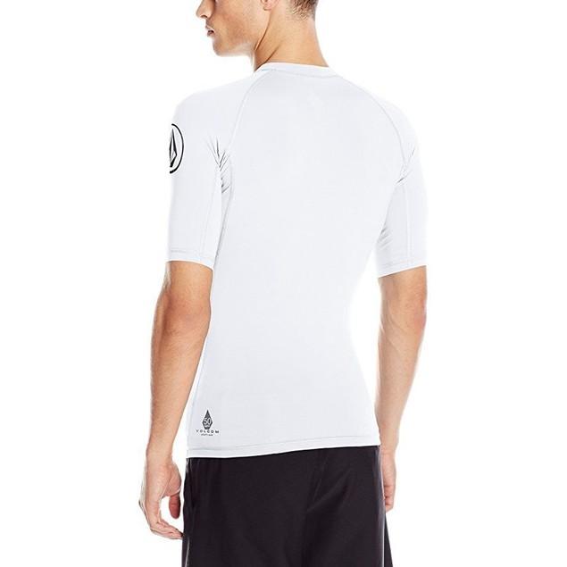 Volcom Men's Lido Solid Short Sleeve Rashguard, White, X-Large
