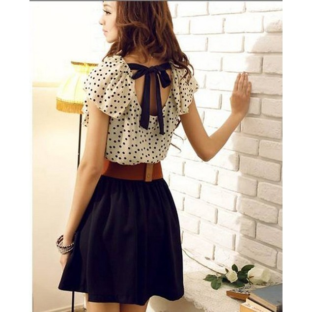 Women Summer Short Sleeve Chiffon Dots Polka Waist Mini Dress+Belts
