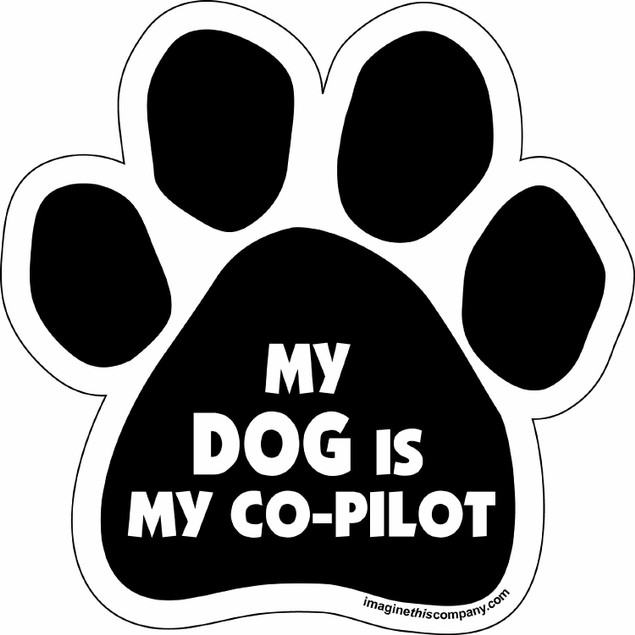 """My Dog Is My Co-Pilot Paw Magnet Dog 5.5"""" x 5.5"""" Shaped Puppy Car Gift Auto"""