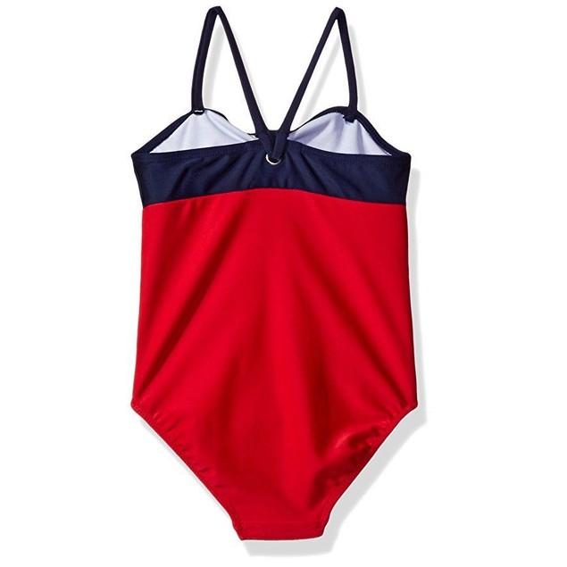 Nautica Big Girls' One Piece Swimsuit, Colorblock Red, 10