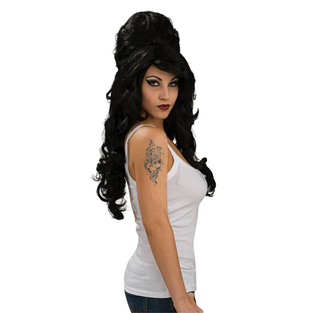 Amy Winehouse Wig Adult Rehab Black Beehive Womens Snooki Singer Costume