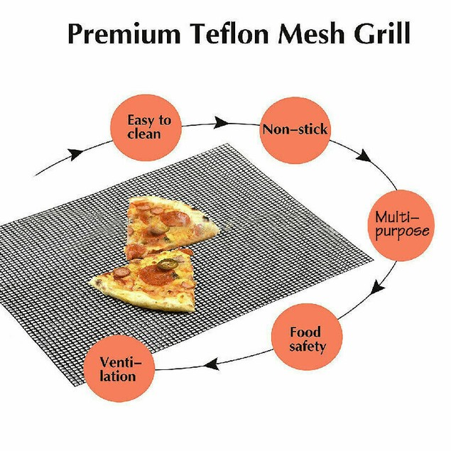 2-Pack BBQ Grill Mesh Mat - Reusable Teflon Barbecue Net Pad