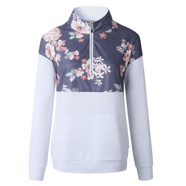 Long Sleeve Flower Print Zip Up Top