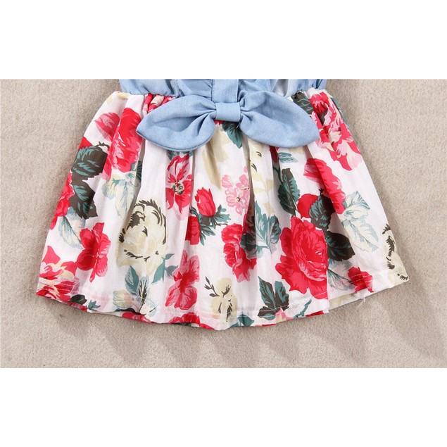 Baby Girl Tutu Denim Dress Short Sleeve Lace Princess Party Skirts