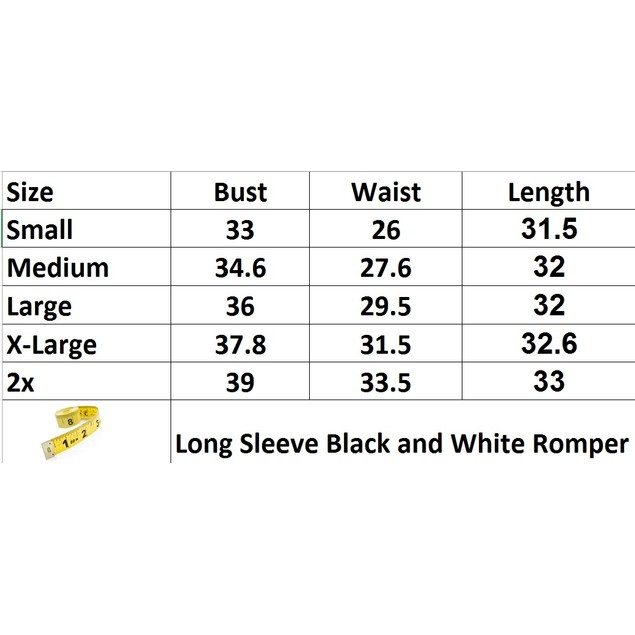 Long Sleeve Black and White Romper
