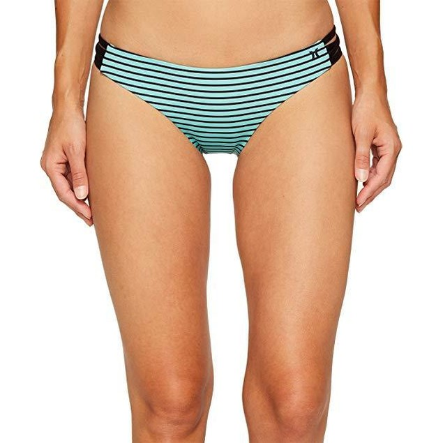 Hurley Women's Quick Dry Stripe Surf Bottoms Washed Teal Swimsuit SZ:
