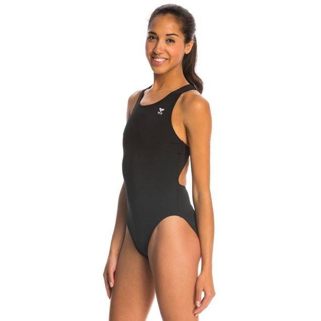 WMNS TYR Durafast Solid Maxfit One Piece Black Swimsuit SZ: 32