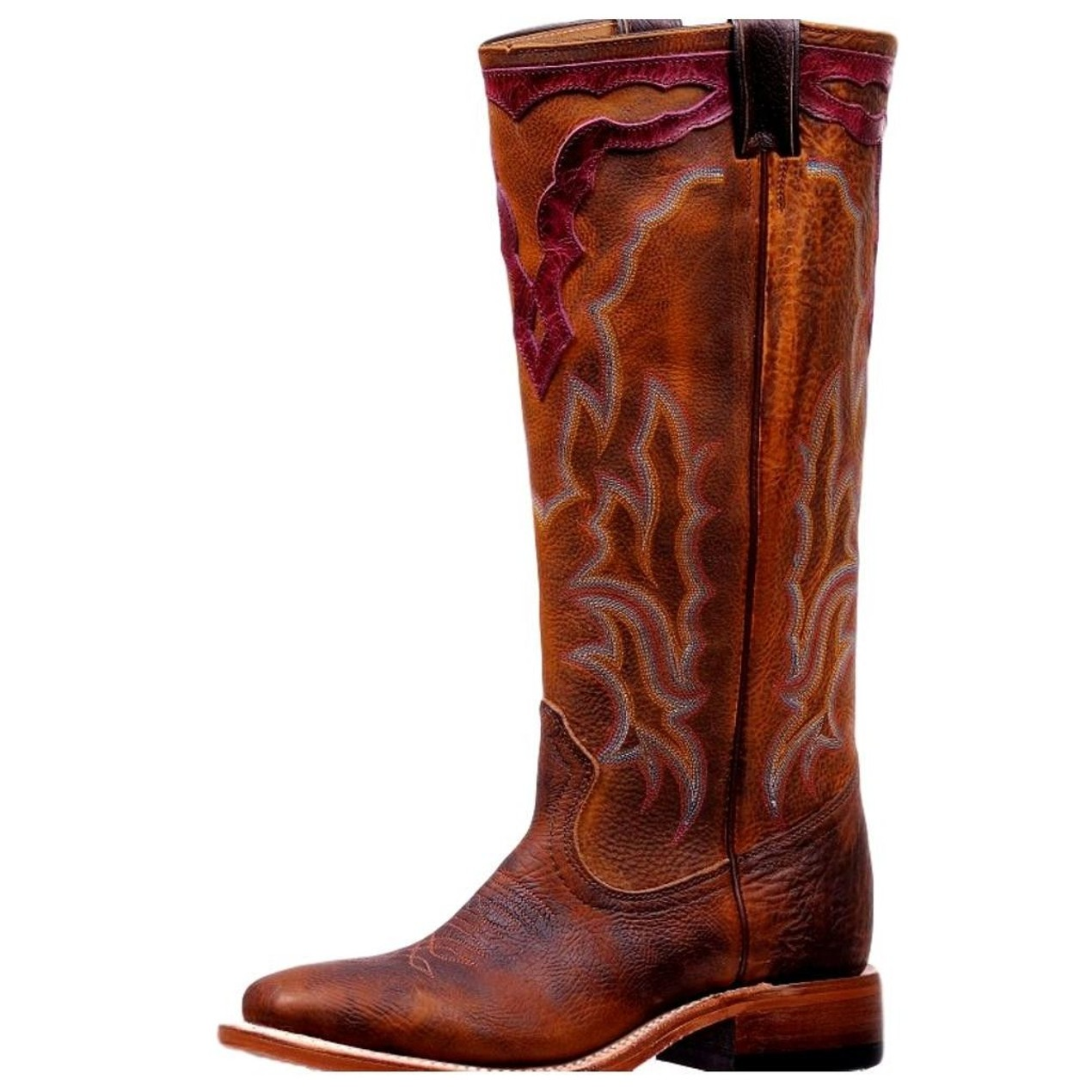 9eb825b0d34 Boulet Western Boots Womens Pull Holes Wide Square Vintage Rust 7224 ...
