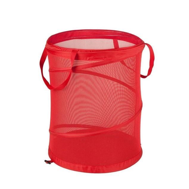 Open Hamper Laundry Basket Storage Clothes Medium Red Mesh