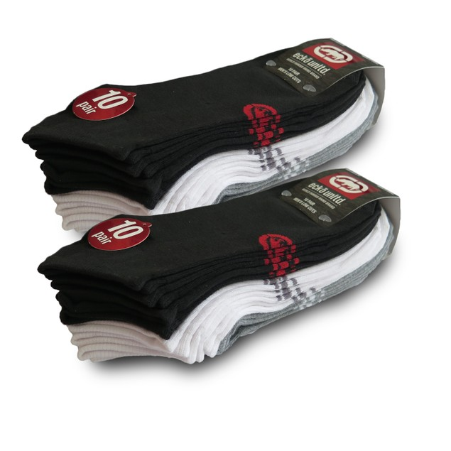 20-Pairs Ecko Men's Basic Quick Dry No Show Athletic Socks