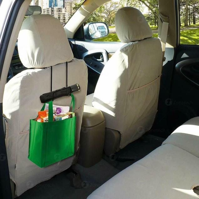 Zone Tech Car Back Seat Construction Hard Hat Hook Rack Black Steel