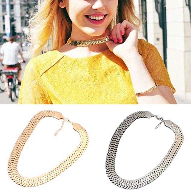 Women Fashion Thick Chain Alloy Necklace