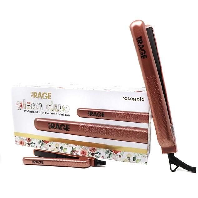 Hair Rage Glam Duo Ceramic Flat Iron Set   Travel Size