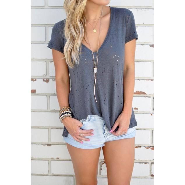 Summer Short Sleeve T Shirts Women V-neck Casual Tops Tee #CL170529W05