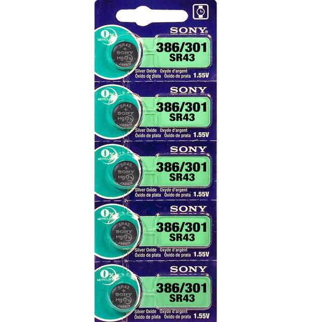 Sony 386/301 (SR43/W/SW) 1.55-Volt Silver Oxide Watch Batteries (5 Pack)