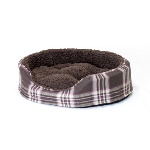 Furhaven Snuggle Terry & Plaid Oval