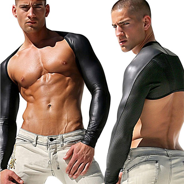 Mans Short Close Fitting Nightclub Costume Leater Long Sleeve Underwear