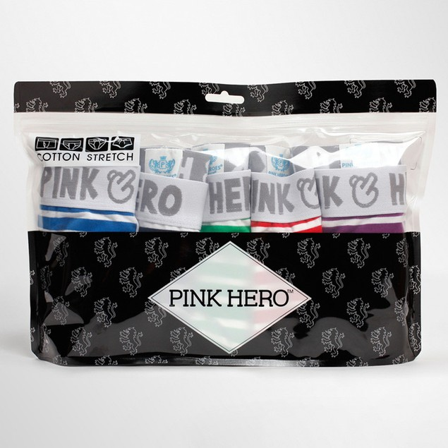 PINK HEROES 5PC Mens Underwear shorts men boxers underpants Soft Briefs