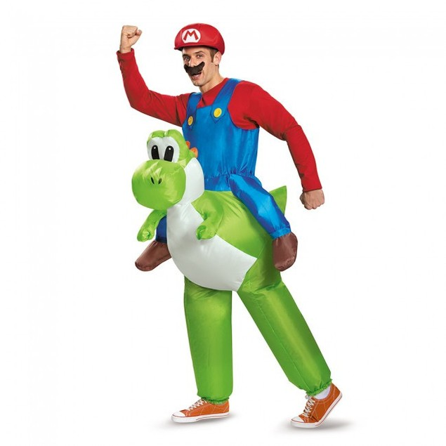 Mario Riding Yoshi Inflatable Adult Costume Super Mario Bros Nintendo Green
