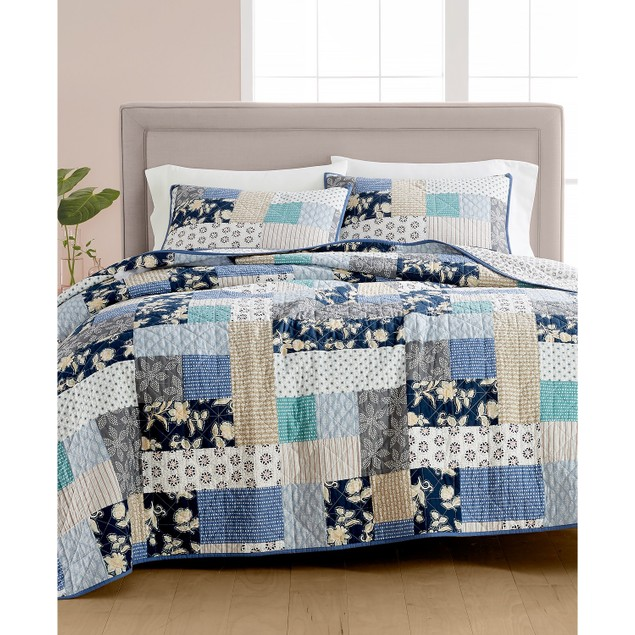 Martha Stewart Collection Contrast Patchwork Cotton Reversible Quilt, Full,