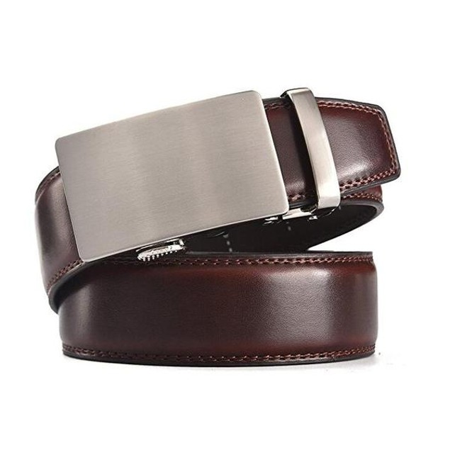 Men's Solid Buckle Leather Belt with Automatic Ratchet