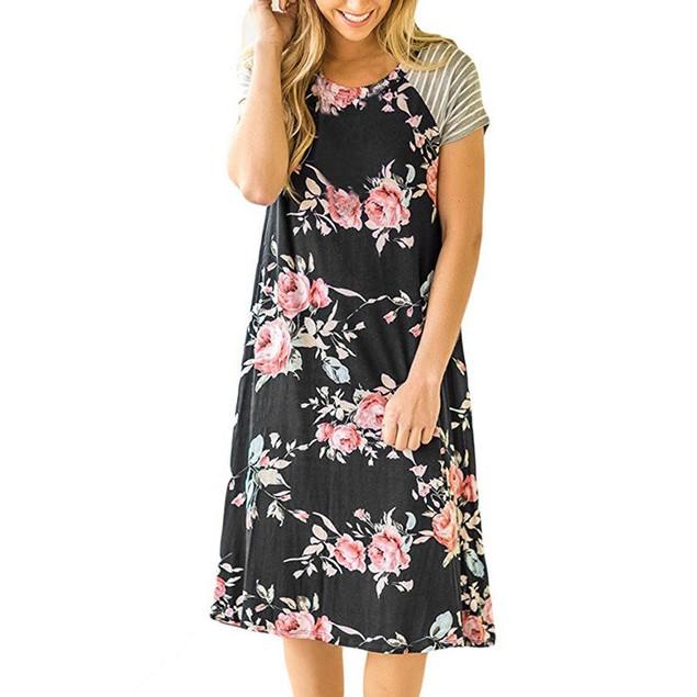 Striped Sleeve Floral Dress