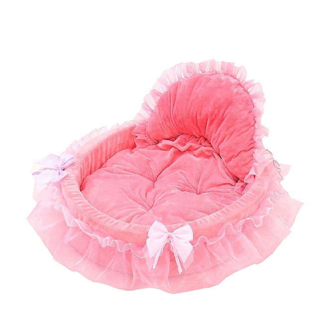 Pet Dog Princess Bows Lace Heart Elegant Lovely Bed Doghouse Pet Warm Bed