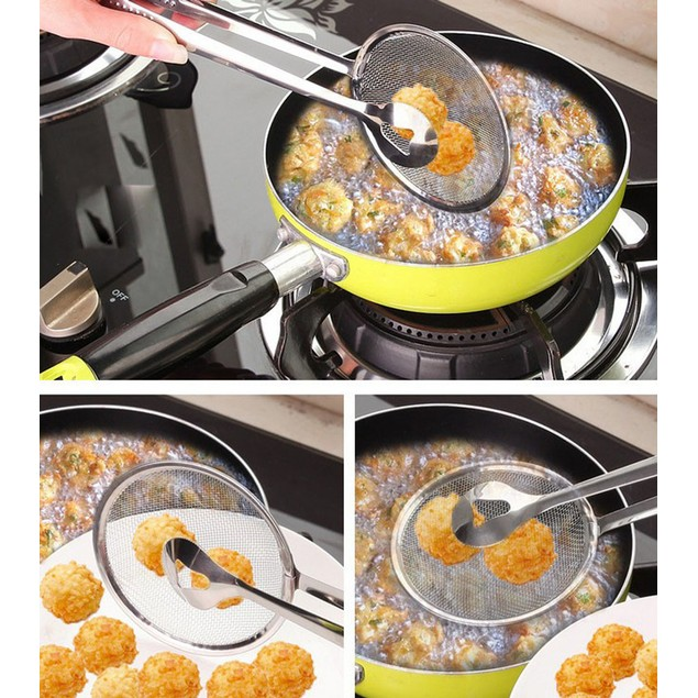 Multi-functional Filter Spoon With Clip Kitchen Oil-Frying Salad BBQ Filter