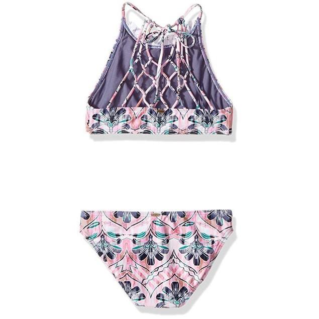 O'Neill Big Girls' Starlis High Neck Halter Swimsuit, Multi, sz  12