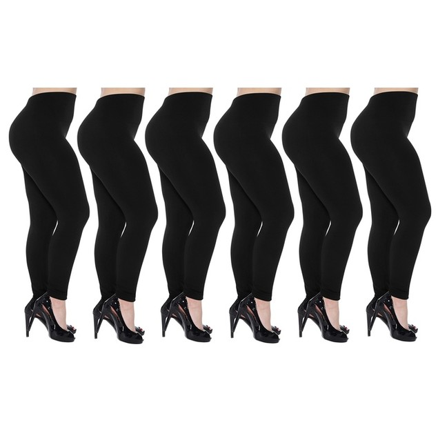 6-Pack Women's Cozy Fleece-Lined Seamless Leggings