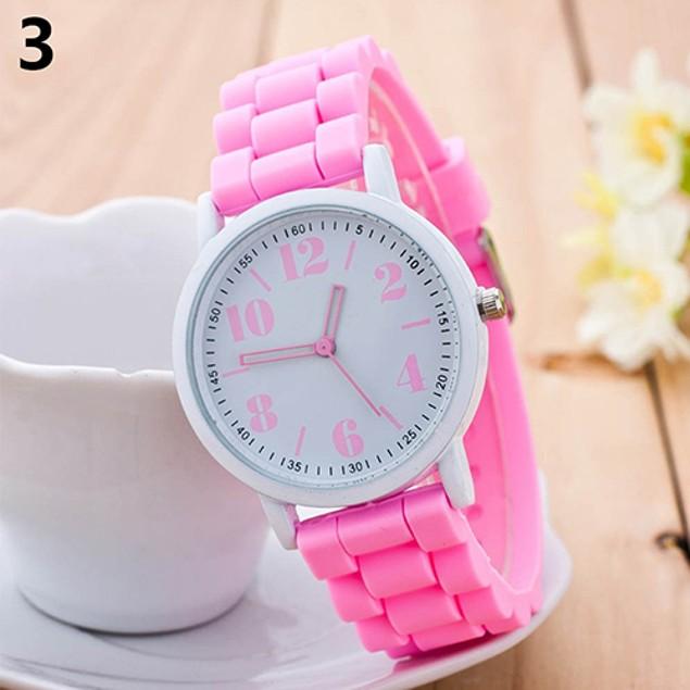 Kids Silicone Strap Arabic Number Quartz Wrist Watch