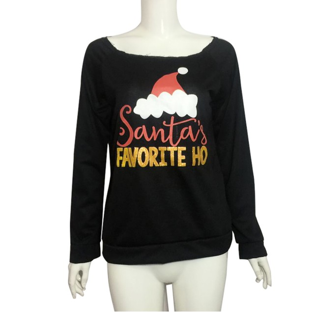 Women Christmas Casual Print Blouse  Fashion Tops  Pullover  Sweatshirt