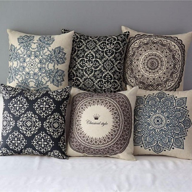 Geometric Flower Linen Pillow Case Cushion Cover Home Sofa Decor