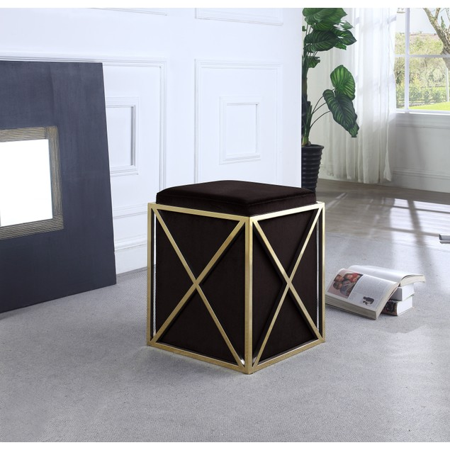 Chic Home Genesis Stainless Steel X Frame Square Velvet Bench Ottoman