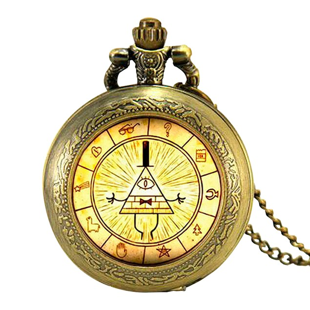 Bill Cipher Wheel Bronze Pocket Watch Necklace
