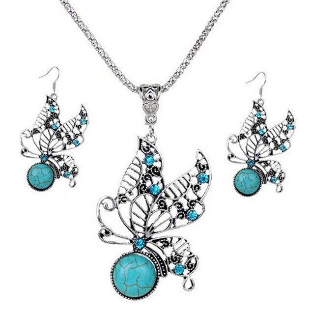 Boho Style Hollow Butterfly Turquoise Jewelry Set