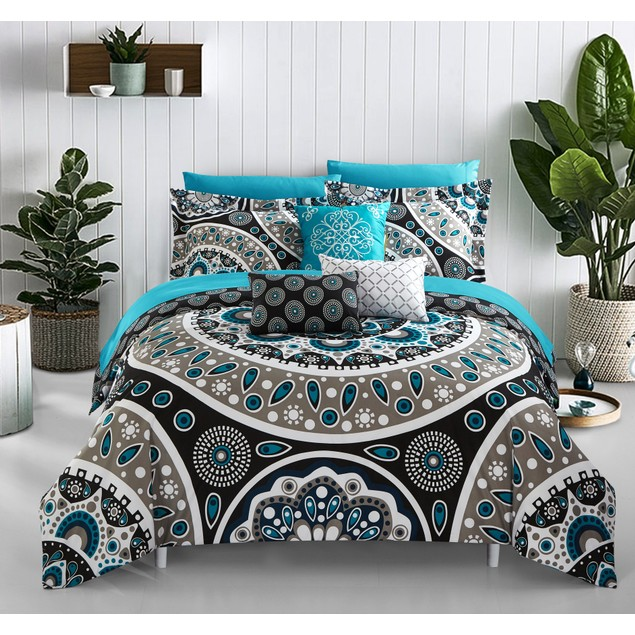 Chic Home 10 Piece Ackton 110 GSM REVERSIBLE Bed In a Bag Comforter Set