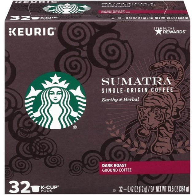 Starbucks Sumatra Dark Roast Keurig 32 K-Cup Box