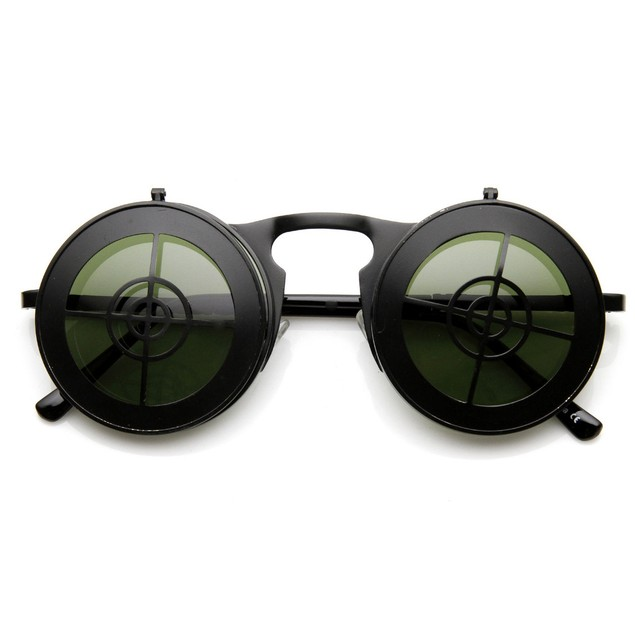 Flip Up Bullseye Black Sunglasses Steampunk Crosshair Bulls Eye Sun Glasses