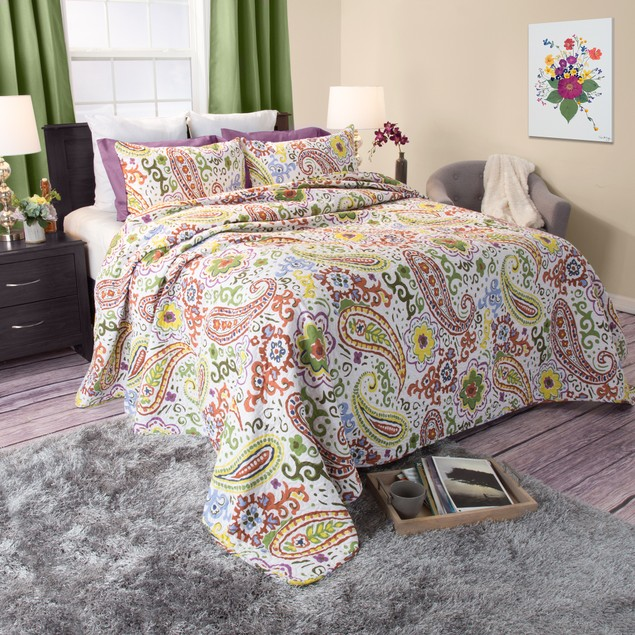 Lavish Home Trista 2 Piece Cotton Quilt Set - Twin