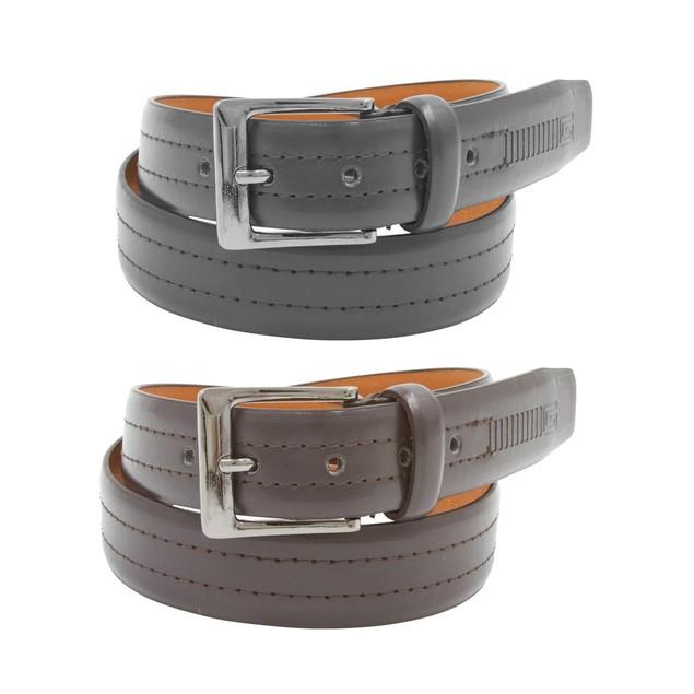 2 Pack: Mens Black & Brown Leather Belts (J507)