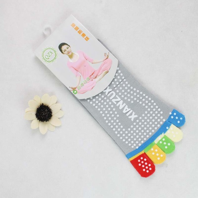 Womens 5-Toe Yoga Gym Non Slip Massage Toe Socks Full Grip