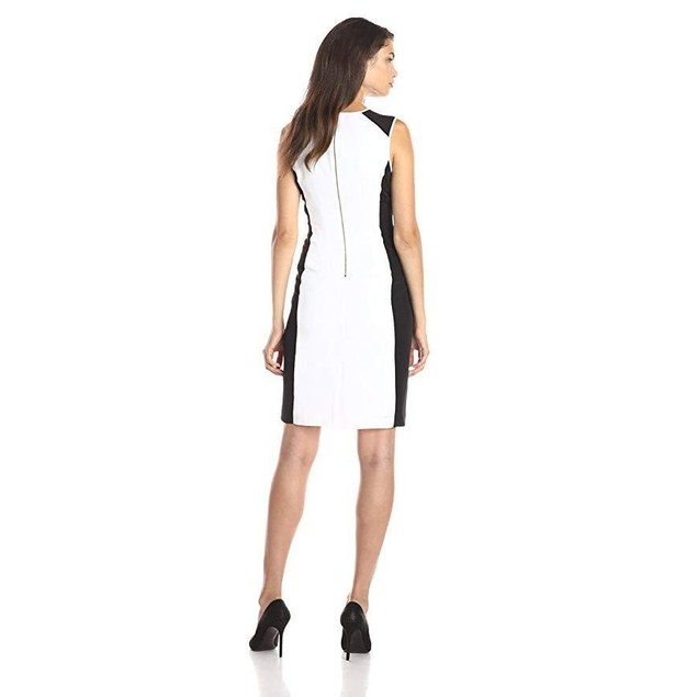 Calvin Klein Women's Colorblock Dress with Stones, Soft White, 12