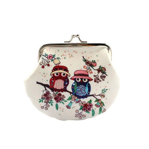 Women Lady Retro Vintage Owl Leather Small Wallet Hasp Purse Clutch Bag