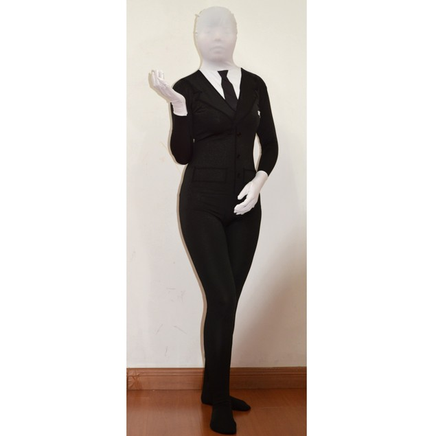 Slenderman Black Suit Adult Spandex Costume