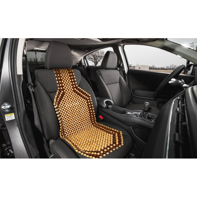 Zone Tech Car Wooded Beaded Comfortable Seat Cover Cushion Natural