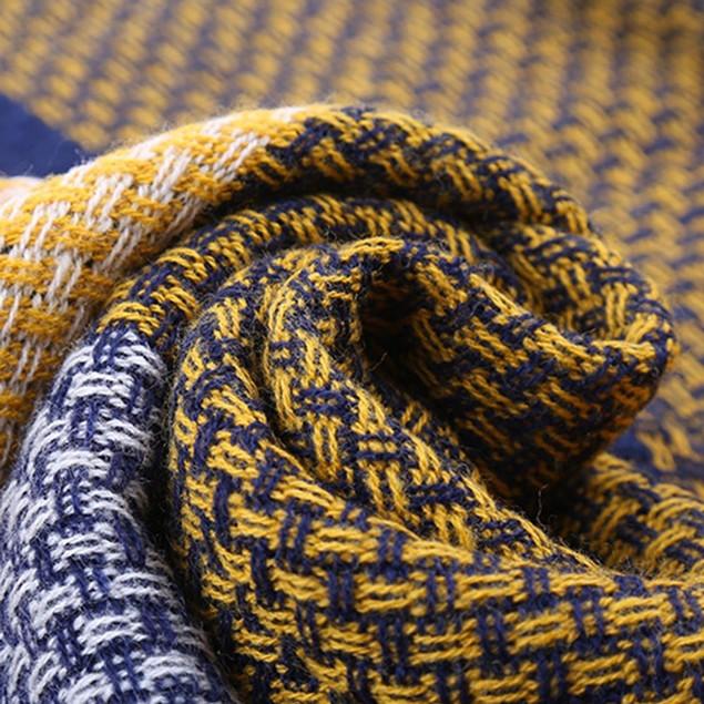 Women Colorful Stitch Long Cashmere Wool Shawl Plaid Neck Scarf